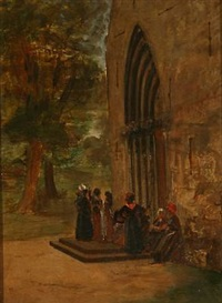 people in front of a church (friesian island of föhr?) by david jacobsen