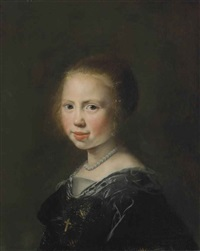 portrait of a young girl in a black dress and pearl necklace by jan de bray
