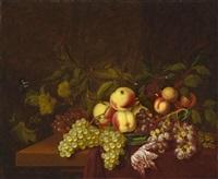 stillleben mit pfirsichen, trauben und einer tulpe by bartholomeus assteyn