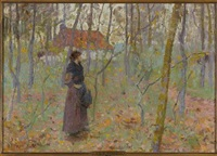 lady in wooded landscape by louis paul dessar