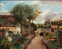 village scene with a boy on a road by ludvig jacobsen