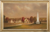a rural town with central monument by american school (19)