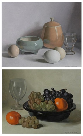 still life with grapes and oranges and still life with eggs and covered jar 2 works by jacques blanchard