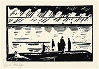 regentag am strande (from zwölf holzschnitte von lyonel feininger) by lyonel feininger