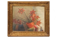 red flowers in red pot on indian tablecloth by mabel hooper lafarge