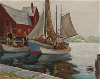boats and fishermen at dock by harold c. dunbar