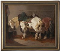 horses in a stable by théodore fort