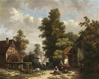 sommer auf der dorfstraße - bauern mit ihren tieren bei der arbeit by h. van hagendoren