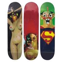 skate decks (3 works) by george condo