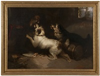 cairn terriers cornering a fox by george armfield