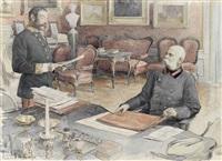 kaiser franz joseph i. von österreich an seinem schreibtisch in der wiener hofburg by felicien de myrbach-rheinfeld