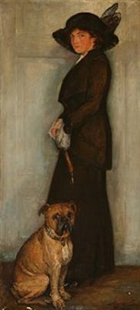 portrait of maud gudme, née rée, with her dog by mogens gad