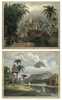 view of the great dragon pagoda and adjacent scenery taken on the eastern road from rangoon (+ an indian capriccio; 2 works) by gordon davies