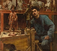 sculptor in studio by charles frederick ulrich