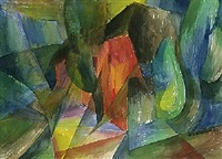 rote kate (+ mensch u. technik, gouache, 1986; 2 works) by otto hofmann