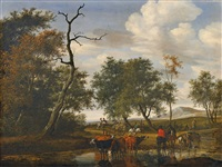 cattle at a pond (the robbery) by salomon van ruysdael