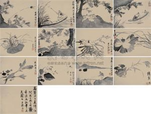 花卉 册 (十二开) flower album w12 works by xu wei