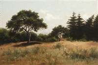 trees and white flowers in a summer landscape by william franklin jackson