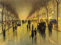 abendliche boulevardszene mit droschken und zahlreichen passanten by gernot rasenberger