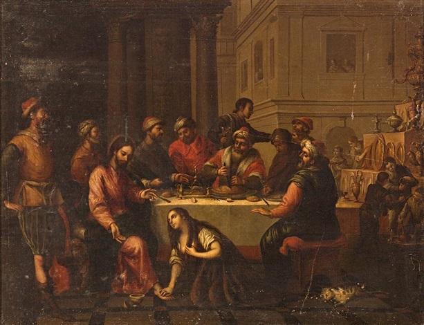 maría magdalena y cristo en la casa de simón el fariseo by matías arteaga y alfaro