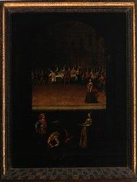 tafelnde höfische gesellschaft mit der enthauptung des johannes (+ tanz der salome; 2 works) by austrian school-tyrolean (18)
