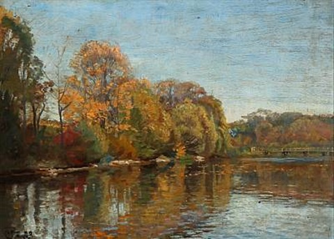 autumn day at a forest lake by christian peder mørch zacho