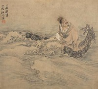 仙人乘槎图 by ren bonian