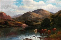 english landscape with cattle at a pond by william langley