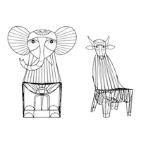 elephant and cow chair (2 works) by john risley
