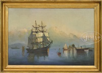 ship in tranquil harbor by american school