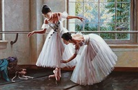 two girls practicing ballet by alexander akopov