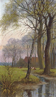 cattle grazing by a stream by willem jacobus alberts