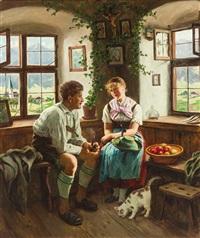 junges oberbayerisches paar in ländlichem interieur mit herrgottswinkel. blick durch die fenster auf kirchdorf und gebirgsmassiv by emil rau