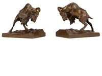 figural bookends: charging mountain goats (set of 2) by anna vaughn hyatt huntington