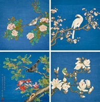 花鸟小屏 (flower and bird) (in 8 parts) by zou yigui