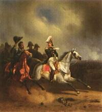 eugène de beauharnais, vizekönig von italien und herzog von leuchtenberg, gefolgt von seinen offizieren in gestrecktem galopp by franz adam