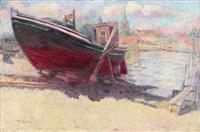 flensburg, fischerhafen, das frisch gestrichene boot by conrad felixmüller