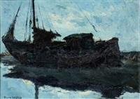 vissersboot op het strand by toon koster
