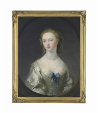 portrait of lady mary coke, nee campbell, half-length, in a white silk dress with a blue ribbon and pearls, in a feigned oval by joseph highmore