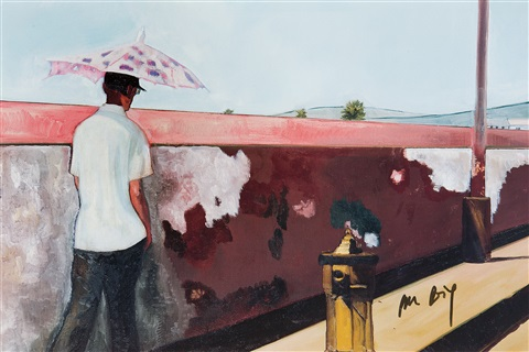 ohne titel man walking by peter doig