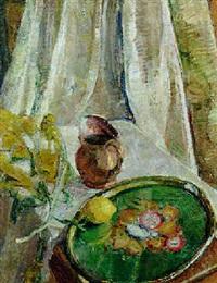 still life with pitcher and lemon by m.i. ponomarev