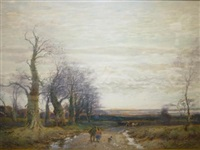 winter scene with figures on a country lane by william manners