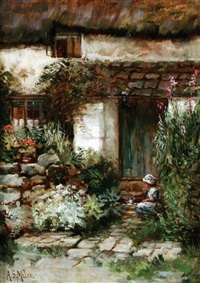 figure outside a cottage by annie stewart miles