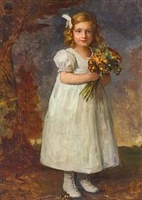 portrait eines reizenden kleinen mädchens mit blumenstrauß, meisterlich charakterisiert by john quincy adams