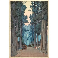 cryptomeria avenue, bamboo wood and himeji castle (3 works) by hiroshi yoshida