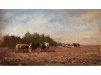 landschaft mit pferden by mikhail petrovich (baron) klodt von jurgensburg