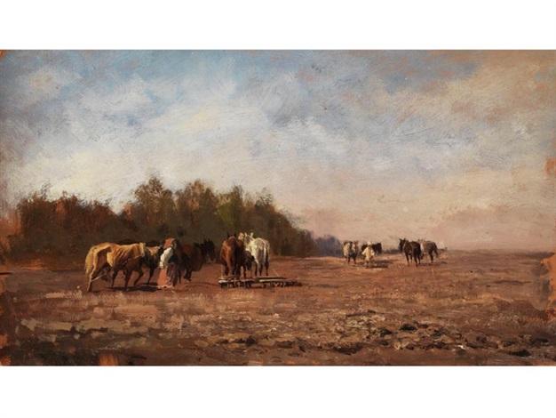 landschaft mit pferden by mikhail petrovich baron klodt von jurgensburg