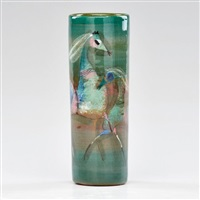 cylindrical vase decorated with horses by polia pillin