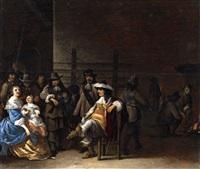 two interior scenes with soldiers and figures (2 works) by anthonie palamedesz