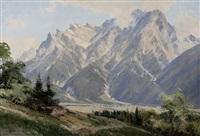 alpenlandschaft mit kleinem dorf by ernst carl walter retzlaff
